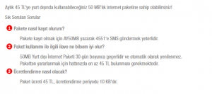 Bimcell Yurt Dışı 15 MB İnternet Paketi