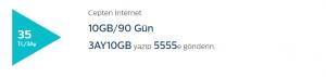 Türk Telekom 3 Aylık 10GB İnternet Paketi