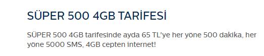 Türk Telekom SÜPER 500 4 GB Tarifesi