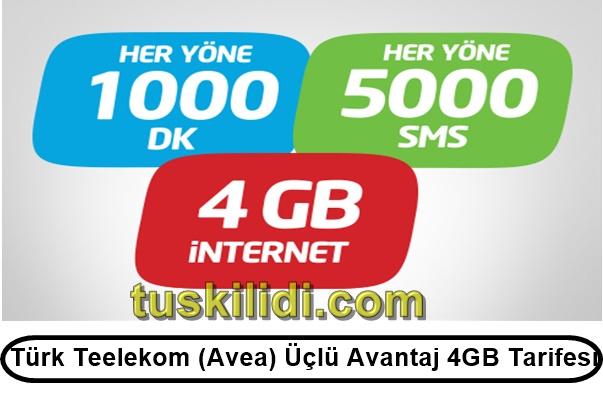 Türk Telekom (Avea) Üçlü Avantaj 4GB Tarifesi